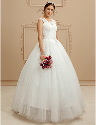 Ball Gown V Neck Floor Length Lace Tulle Custom Wedding Dresses with Beading Sequin Appliques by QQC Bridal