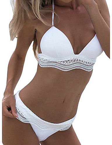 Women's Color Block White Tankini Swimwear - Color Block