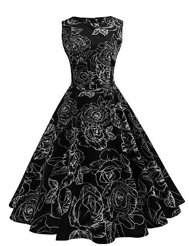 Women's Street chic Sheath Dress Pleated Print High Rise