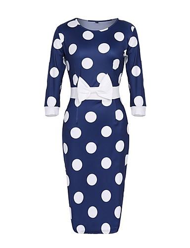 abordables Vestidos Estampados-Mujer Tallas Grandes Vintage Vaina Vestido - Estampado, A Lunares Hasta la Rodilla Azul / Delgado