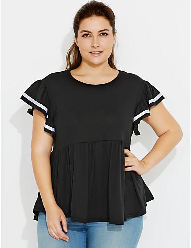 Γυναικεία Μεγάλα Μεγέθη T-shirt Κομψό στυλ street - Βαμβάκι Μονόχρωμο Πλισέ    Καλοκαίρι   Με Βολάν c4cd11d2ec2