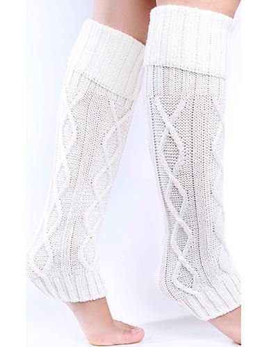 Women's Warm Stockings, Acrylic Jacquard 1set Black Dark Gray Navy Blue Gray Khaki