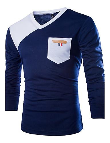 Men's Cotton T-shirt - Color Block Blue & White V Neck / Long Sleeve