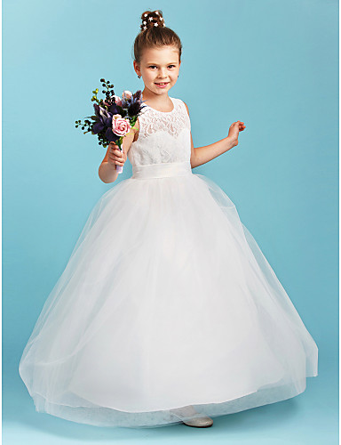 A-Line / Princess Jewel Neck Floor Length Lace / Tulle Junior Bridesmaid Dress with Sash / Ribbon by LAN TING BRIDE® / Wedding Party / See Through