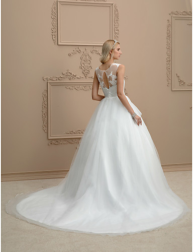 Ball Gown Illusion Neck Court Train Organza / Tulle Custom Wedding Dresses with Appliques by LAN TING BRIDE®