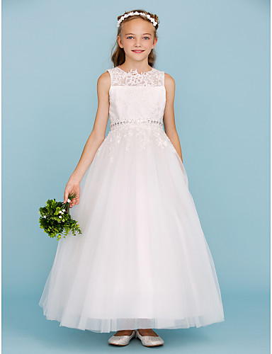 Ball Gown Crew Neck Ankle Length Lace / Tulle Junior Bridesmaid Dress with Beading / Appliques / Sash / Ribbon by LAN TING BRIDE® / Wedding Party