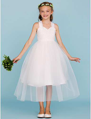 Ball Gown Straps Tea Length Lace / Tulle Junior Bridesmaid Dress with Bow(s) by LAN TING BRIDE® / Wedding Party