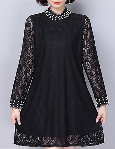 a900a451875c3 Kadın Büyük Beden Günlük/Sade Sade Dantel Elbise Solid,Uzun Kollu Gömlek  Yaka Diz