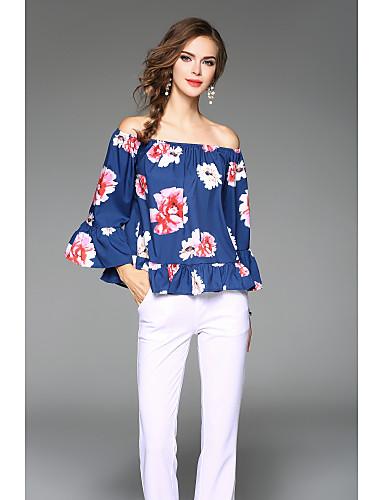 cheap Women's T-shirts-Women's Club T-shirt - Solid Colored V Neck Royal Blue M / Silk / Summer