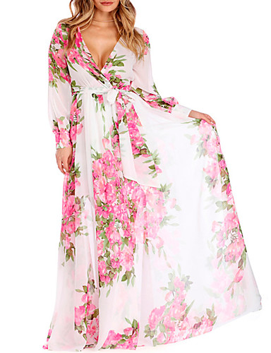 Women's Plus Size Holiday / Beach Chiffon / Swing Dress - Floral Print High Rise Maxi V Neck / Floral Patterns