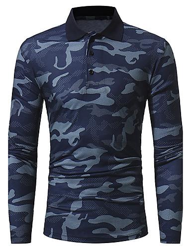 Rozmiar plus Polo Męskie Wzornictwo chińskie Kołnierzyk koszuli kamuflaż Bawełna