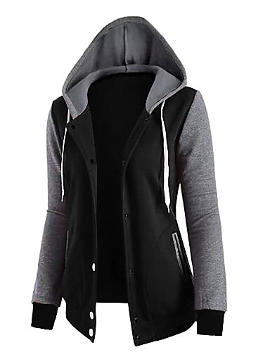 Women's Going out Cotton Hoodie - Solid Colored / Fall / Winter / Sporty Look