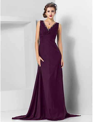 93541074b31 Sheath   Column V Neck Sweep   Brush Train Chiffon Formal Evening Dress  with Beading by TS Couture®