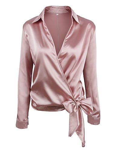povoljno Majica-Majica Žene - Ulični šik Dnevno / Praznik Jednobojni Kragna košulje Dusty Rose Blushing Pink / Jesen