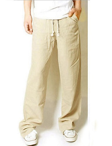 Men's Cotton Loose / Wide Leg / Chinos Pants - Solid Colored