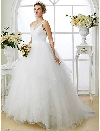 cheap Wedding Dresses-Ball Gown V Neck Sweep / Brush Train Tulle Made-To-Measure Wedding Dresses with Criss Cross by LAN TING BRIDE® / Open Back