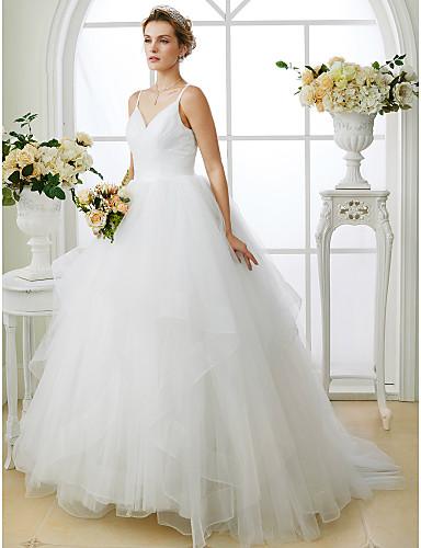 abordables Vestidos de Novia-Salón Escote en Pico Larga Tul Vestidos de novia hechos a medida con En Cruz por LAN TING BRIDE® / Espalda Abierta