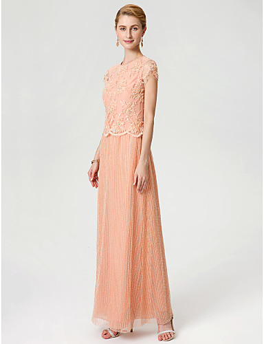 Sheath / Column Jewel Neck Ankle Length Chiffon Beaded Lace Mother of the Bride Dress with Beading Lace by LAN TING BRIDE®