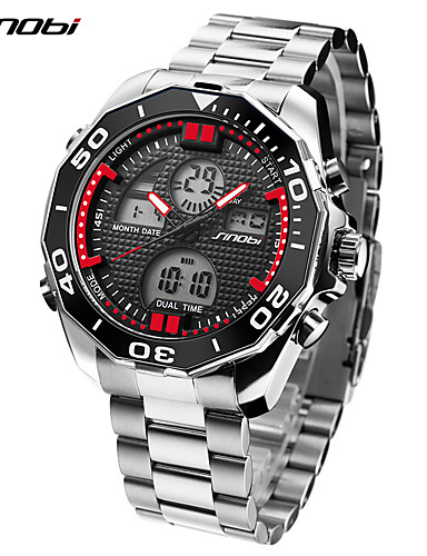 SINOBI Men's Sport Watch / Military Watch Japanese Alarm / Calendar / date / day / LED Stainless Steel Band Luxury / Casual / Minimalist Silver / Dual Time Zones / Shock Resistant / Stopwatch