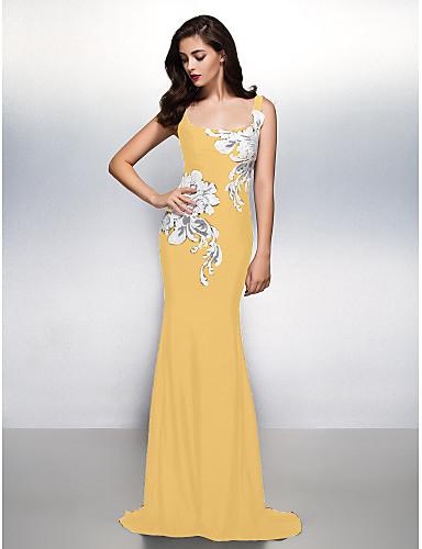 4bbcfb4e67ba Ίσια Γραμμή Scoop Neck Ουρά Ζέρσεϊ Όμορφη Πλάτη   See Through Επίσημο  Βραδινό Φόρεμα με Σχέδιο   Στάμπα με TS Couture®