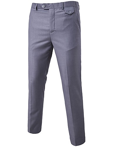 Men's Cute Straight Business Pants - Solid Colored Formal Style