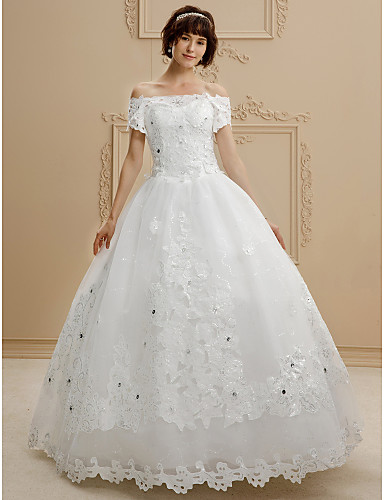 Ball Gown Off Shoulder Floor Length Lace / Tulle Made-To-Measure ...