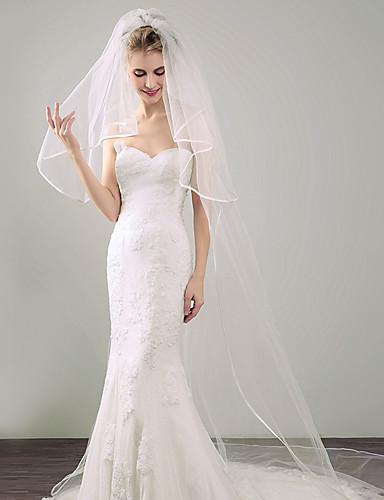 Two-tier Ribbon Edge Wedding Veil Blusher Veils / Elbow Veils / Chapel Veils with Ribbon Tie Tulle / Angel cut / Waterfall
