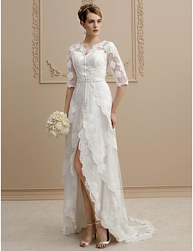 35aebfeb193e Χαμηλού Κόστους Νυφικά-Ίσια Γραμμή Λαιμόκοψη V Ασύμμετρο Τούλι   Φλοράλ δαντέλα  Φορέματα γάμου φτιαγμένα