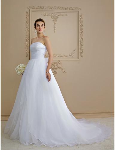 A-Linie Trägerlos Kirchen Schleppe Organza Hochzeitskleid mit Schleife Knopf Seiten-drapiert durch LAN TING BRIDE®