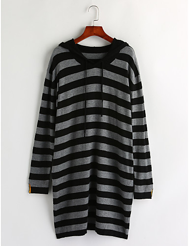 Women's Daily Casual Striped Hooded Pullover, Long Sleeves Winter Cotton
