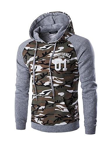 Men's Long Sleeve Hoodie - Camouflage, Print Hooded