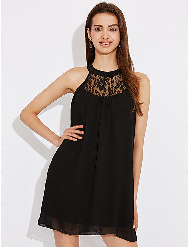 Women's Holiday Street chic A Line Dress - Solid Colored Black Low Rise Halter