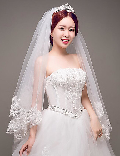 One-tier Lace Applique Edge Wedding Veil Elbow Veils with Appliques Tulle / Classic