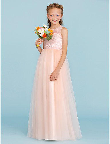 a35662b0037b3 A-Line Princess Crew Neck Floor Length Lace Tulle Junior Bridesmaid Dress  with Pleats by LAN TING BRIDE®