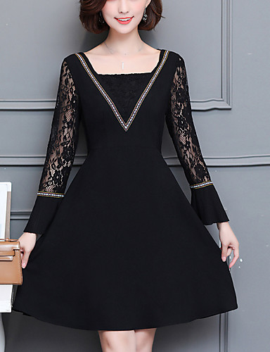 d65f865a3ee Women s Plus Size Going out Street chic Flare Sleeve Lace Dress - Solid  Colored Lace Cut Out V Neck Fall Black XXXL XXXXL XXXXXL