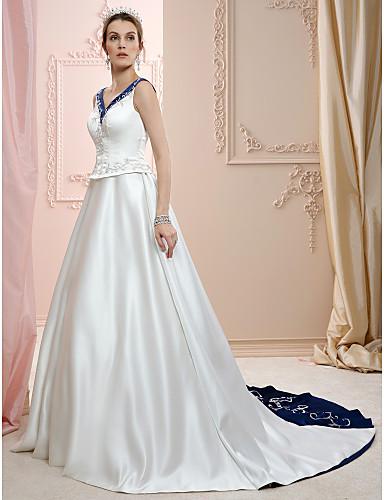 A-vonalú Hercegnő V-alakú Udvari uszály Szatén Egyéni esküvői ruhák val vel Gyöngydíszítés Hímzés által LAN TING BRIDE®