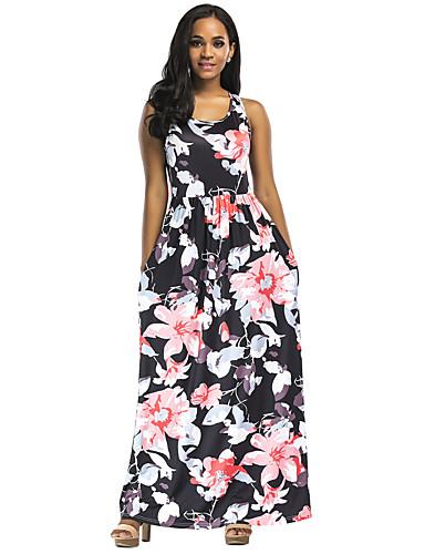Women's Floral Club / Beach Boho Maxi Sheath Dress - Floral Summer Blue Red Purple M L XL
