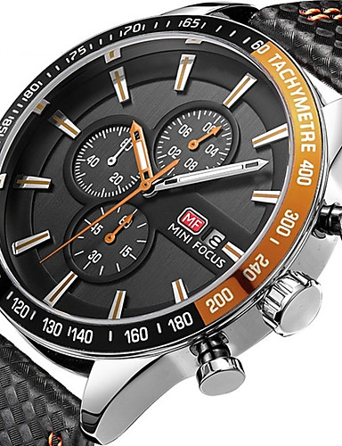 Men's Sport Watch Quartz Water Resistant / Water Proof Calendar / date / day Chronograph Leather Genuine Leather Band Analog Casual Fashion Elegant Black - Orange Red Blue / Stainless Steel