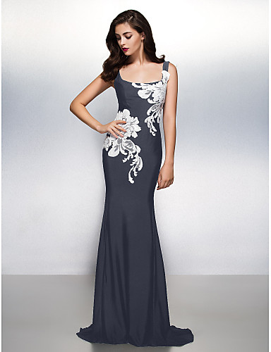 cheap Evening Dresses-Sheath / Column Scoop Neck Sweep / Brush Train Jersey Beautiful Back / See Through Formal Evening Dress with Pattern / Print by TS Couture®