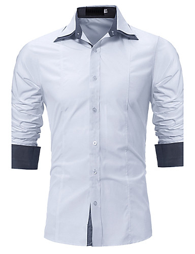 Men's Street chic Plus Size Shirt - Solid Colored / Long Sleeve
