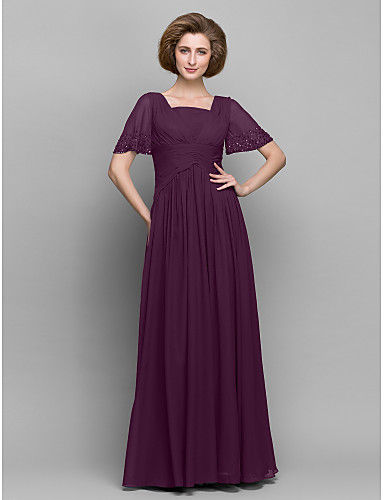 A-Line Square Neck Ankle Length Chiffon Mother of the Bride Dress with Beading / Criss Cross by LAN TING BRIDE®