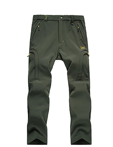 cheap Hiking Trousers & Shorts-Men's Solid Color Hiking Pants Outdoor Waterproof Thermal / Warm Windproof Breathability Autumn / Fall Winter Duckdown Pants / Trousers Hunting Ski / Snowboard Hiking Black Gray Khaki XXL XXXL 4XL -