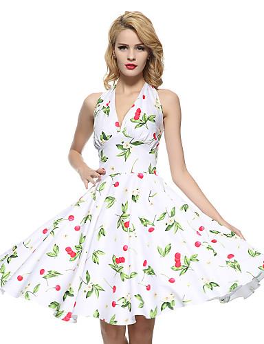 Women's Plus Size Club Vintage Cotton Sheath / Swing Dress - Floral Backless Halter Neck