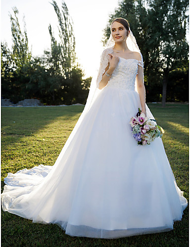 A-Line Princess Off Shoulder Cathedral Train Lace Tulle Custom Wedding Dresses with Lace by LAN TING BRIDE®