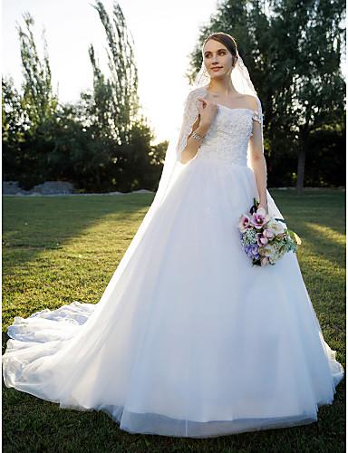 A-kroj Princeza Spuštena ramena Jako dugi šlep Čipka Til Prilagođene vjenčanice s Čipka po LAN TING BRIDE®