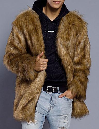 Men's Plus Size Faux Fur Fur Coat - Solid Colored / Long Sleeve