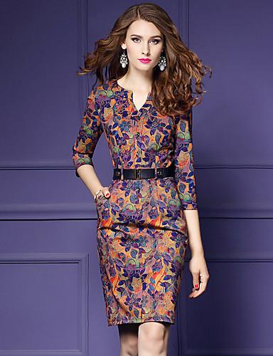 b2d9507def8 Women s Plus Size Going out Vintage   Street chic   Sophisticated Slim  Bodycon   Sheath Dress - Floral Print V Neck Fall Orange XL XXL XXXL