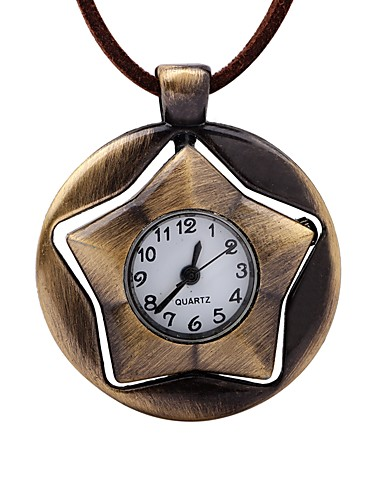 Men's Pocket Watch Chinese Creative / Casual Watch Leather Band Vintage Brown / Mechanical manual-winding
