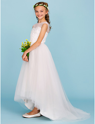 Ball Gown Crew Neck Asymmetrical Tulle Junior Bridesmaid Dress with Beading by LAN TING BRIDE® / Wedding Party / Open Back