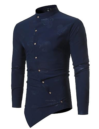 11c9b8b4c8142cc Муж. Рубашка Воротник-стойка Тонкие Цветочный принт Черный M / Длинный рукав